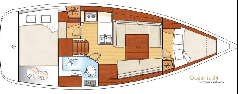 beneteau Oceanis 34 interno 2 cabine