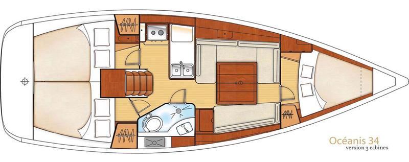 beneteau Oceanis 34 interno 3 cabine